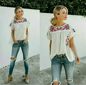Tops - RILEY Embroidered Floral Top - CREAM